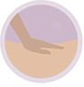 icono masajes, mano masajeando espalda