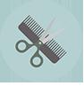 Icono para la sección de peluqueria con imagen de peine y tijeras